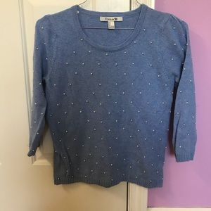 Forever 21 Blue Sweater with Pearls